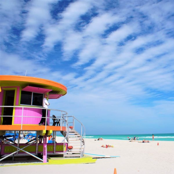 The popular South Beach in Miami is located at the Ocean Drive
